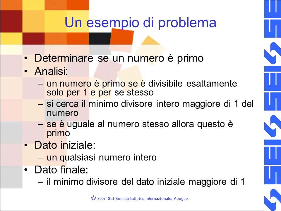 © 2007 SEI-Società Editrice Internazionale, Apogeo Un esempio di problema Determinare se un numero è primo Analisi: –un numero è primo se è divisibile