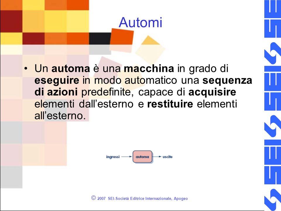 © 2007 SEI-Società Editrice Internazionale, Apogeo Automi Un automa è una macchina in grado di eseguire in modo automatico una sequenza di azioni predefinite, capace di acquisire elementi dallesterno e restituire elementi allesterno.