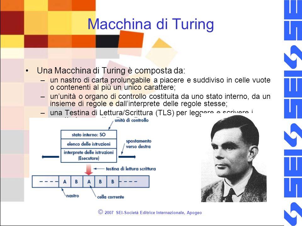 © 2007 SEI-Società Editrice Internazionale, Apogeo Macchina di Turing Una Macchina di Turing è composta da: –un nastro di carta prolungabile a piacere