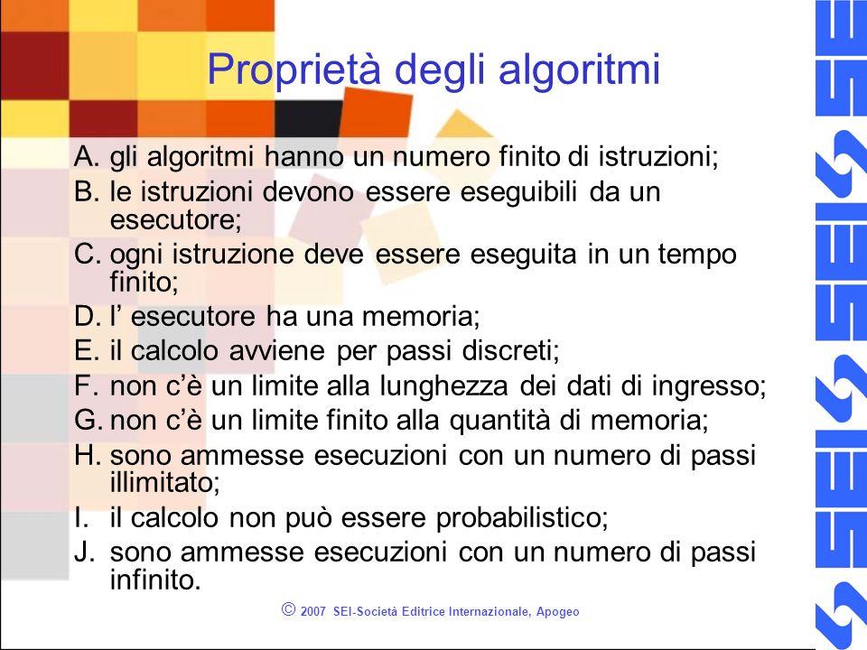 © 2007 SEI-Società Editrice Internazionale, Apogeo Proprietà degli algoritmi A.gli algoritmi hanno un numero finito di istruzioni; B.le istruzioni devono essere eseguibili da un esecutore; C.ogni istruzione deve essere eseguita in un tempo finito; D.l esecutore ha una memoria; E.il calcolo avviene per passi discreti; F.non cè un limite alla lunghezza dei dati di ingresso; G.non cè un limite finito alla quantità di memoria; H.sono ammesse esecuzioni con un numero di passi illimitato; I.il calcolo non può essere probabilistico; J.sono ammesse esecuzioni con un numero di passi infinito.