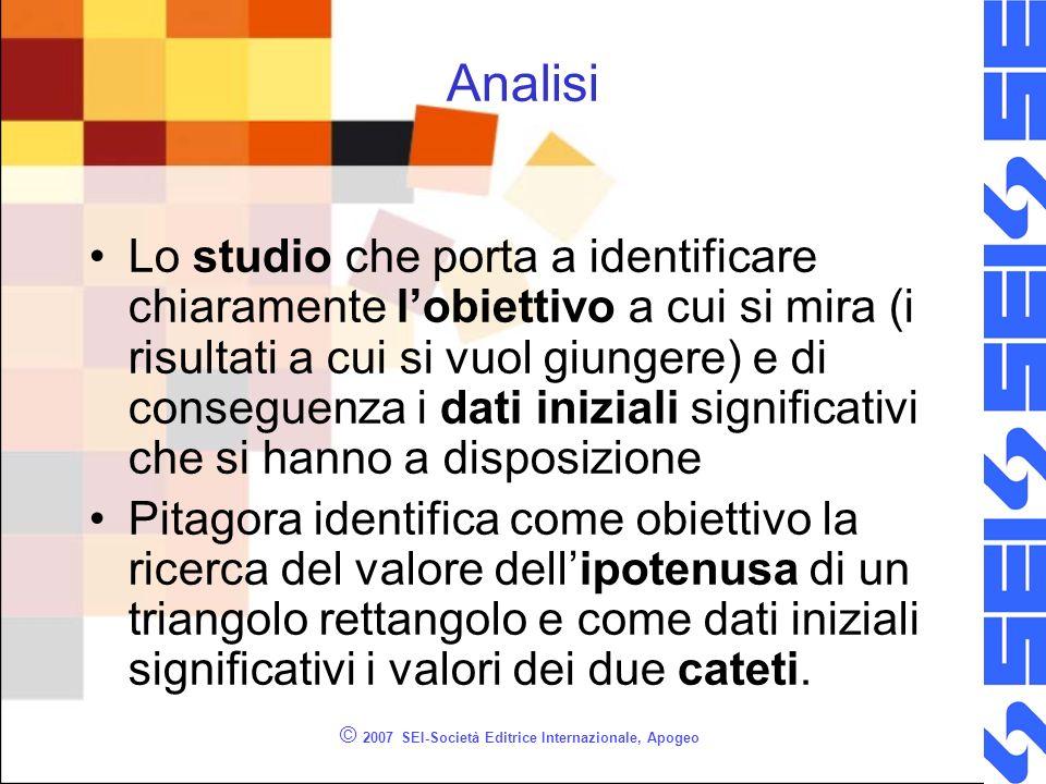 © 2007 SEI-Società Editrice Internazionale, Apogeo Analisi Lo studio che porta a identificare chiaramente lobiettivo a cui si mira (i risultati a cui