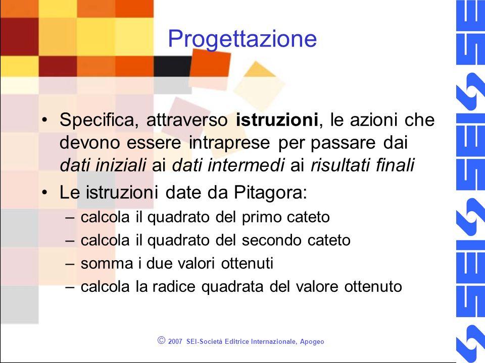 © 2007 SEI-Società Editrice Internazionale, Apogeo Progettazione Specifica, attraverso istruzioni, le azioni che devono essere intraprese per passare