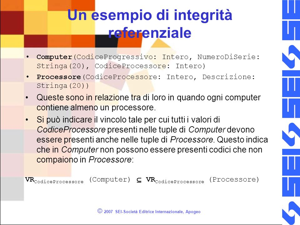 © 2007 SEI-Società Editrice Internazionale, Apogeo Un esempio di integrità referenziale Computer(CodiceProgressivo: Intero, NumeroDiSerie: Stringa(20), CodiceProcessore: Intero) Processore(CodiceProcessore: Intero, Descrizione: Stringa(20)) Queste sono in relazione tra di loro in quando ogni computer contiene almeno un processore.