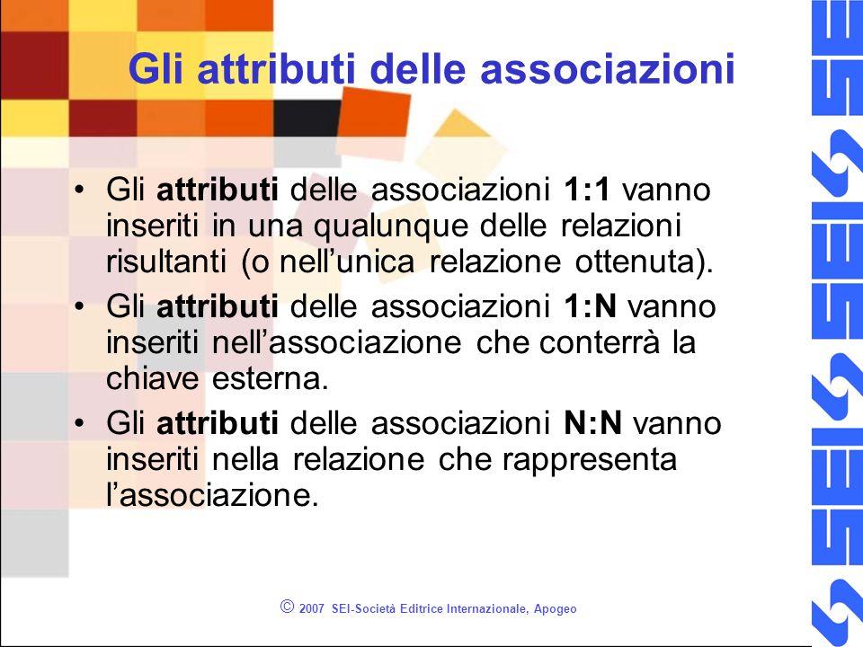 © 2007 SEI-Società Editrice Internazionale, Apogeo Gli attributi delle associazioni Gli attributi delle associazioni 1:1 vanno inseriti in una qualunq