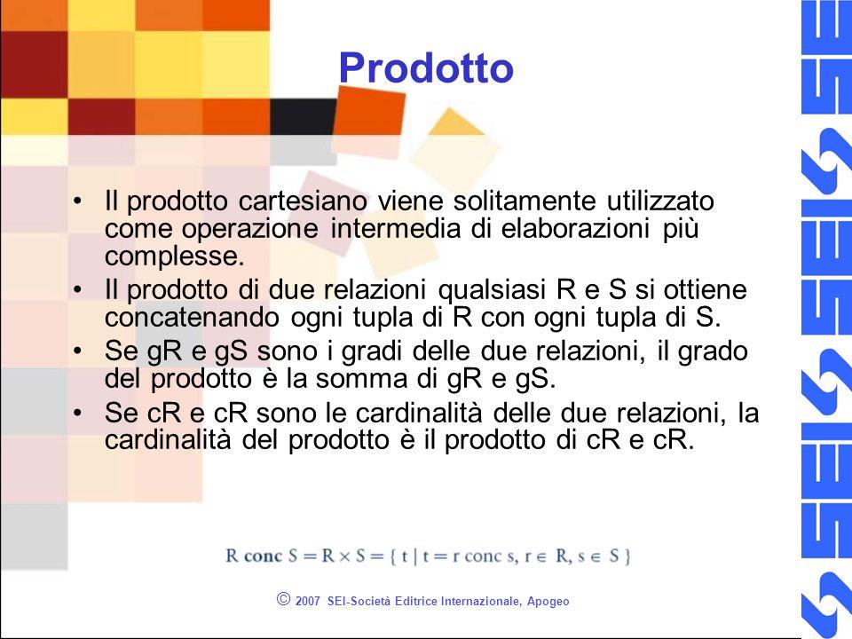 © 2007 SEI-Società Editrice Internazionale, Apogeo Prodotto Il prodotto cartesiano viene solitamente utilizzato come operazione intermedia di elaborazioni più complesse.