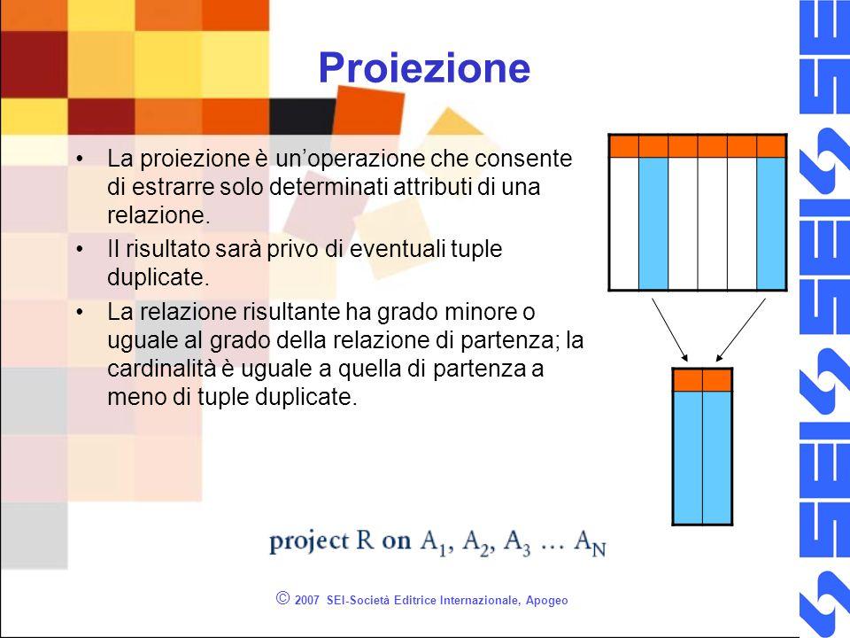 Proiezione © 2007 SEI-Società Editrice Internazionale, Apogeo La proiezione è unoperazione che consente di estrarre solo determinati attributi di una