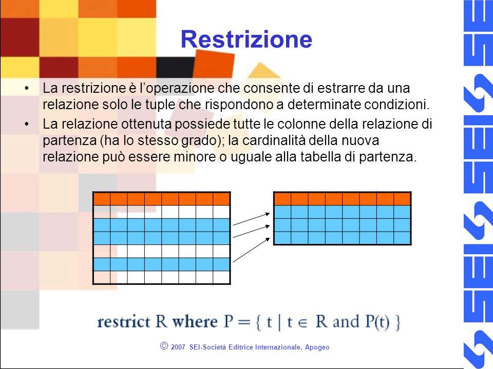 Restrizione © 2007 SEI-Società Editrice Internazionale, Apogeo La restrizione è loperazione che consente di estrarre da una relazione solo le tuple che rispondono a determinate condizioni.