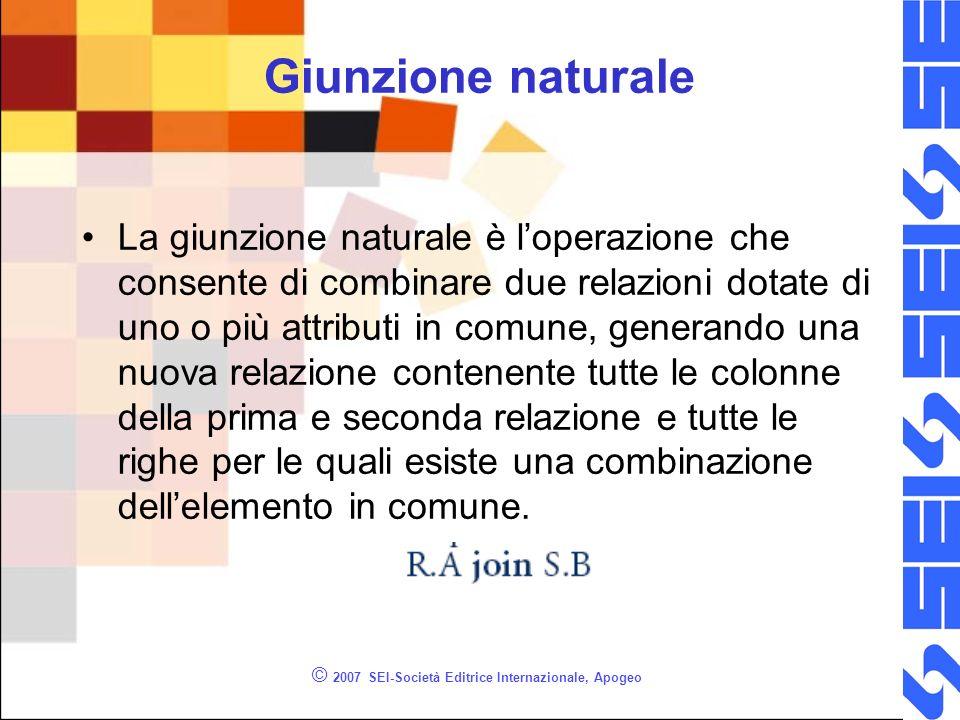 © 2007 SEI-Società Editrice Internazionale, Apogeo Giunzione naturale La giunzione naturale è loperazione che consente di combinare due relazioni dota