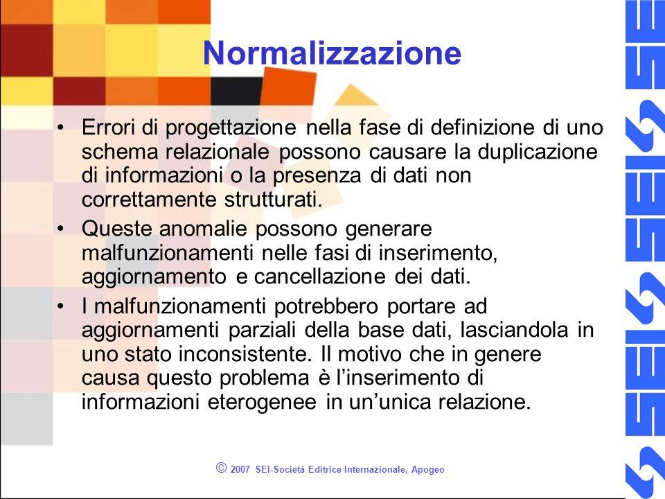 © 2007 SEI-Società Editrice Internazionale, Apogeo Normalizzazione Errori di progettazione nella fase di definizione di uno schema relazionale possono causare la duplicazione di informazioni o la presenza di dati non correttamente strutturati.