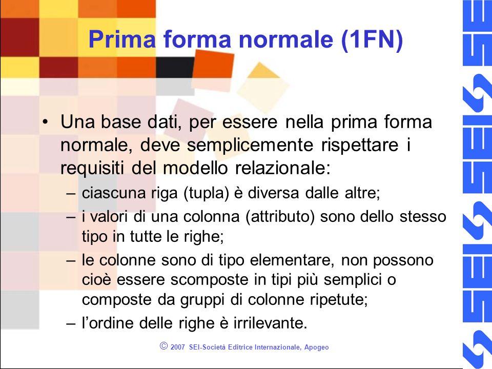 © 2007 SEI-Società Editrice Internazionale, Apogeo Prima forma normale (1FN) Una base dati, per essere nella prima forma normale, deve semplicemente r