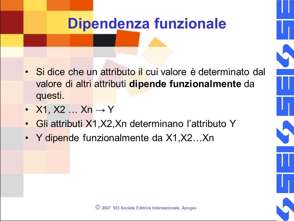 © 2007 SEI-Società Editrice Internazionale, Apogeo Dipendenza funzionale Si dice che un attributo il cui valore è determinato dal valore di altri attributi dipende funzionalmente da questi.