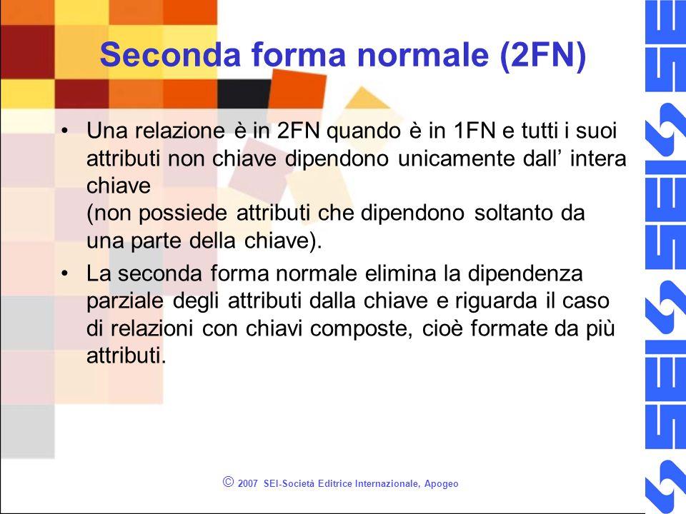 © 2007 SEI-Società Editrice Internazionale, Apogeo Seconda forma normale (2FN) Una relazione è in 2FN quando è in 1FN e tutti i suoi attributi non chiave dipendono unicamente dall intera chiave (non possiede attributi che dipendono soltanto da una parte della chiave).