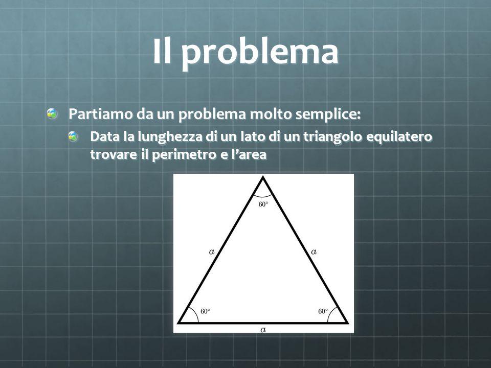 Il problema Partiamo da un problema molto semplice: Data la lunghezza di un lato di un triangolo equilatero trovare il perimetro e larea