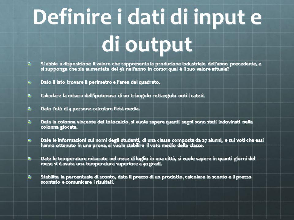 Definire i dati di input e di output Si abbia a disposizione il valore che rappresenta la produzione industriale dellanno precedente, e si supponga ch