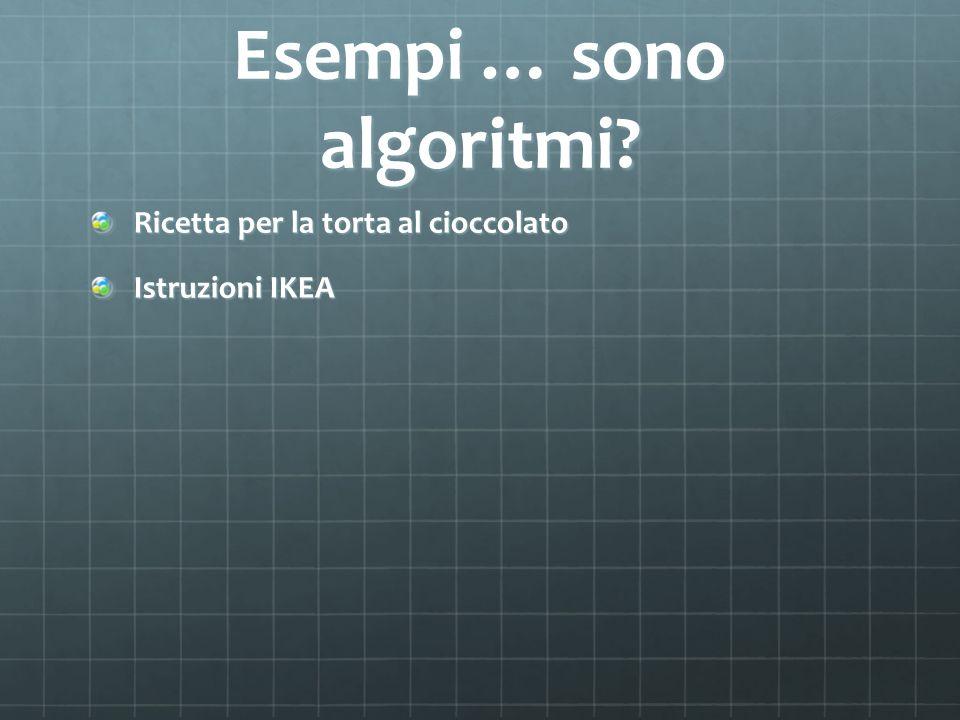 Esempi … sono algoritmi? Ricetta per la torta al cioccolato Istruzioni IKEA