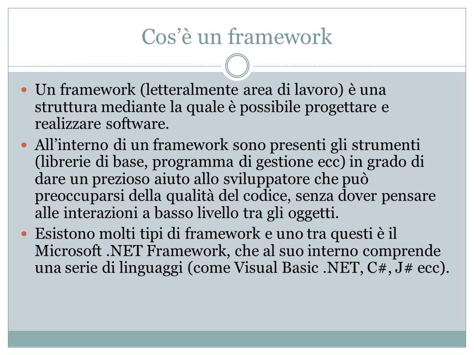 Il.NET Framework contiene al suo interno una serie di linguaggi (VB.NET, C#, J#, VC++.Net sono solo alcuni) che permettono di utilizzare tutta una serie di tecnologie (sia in ambiente Web che Desktop), tramite una serie di strumenti comuni.