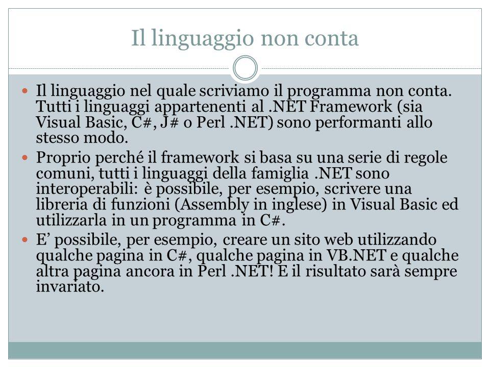 Il linguaggio non conta Il linguaggio nel quale scriviamo il programma non conta. Tutti i linguaggi appartenenti al.NET Framework (sia Visual Basic, C