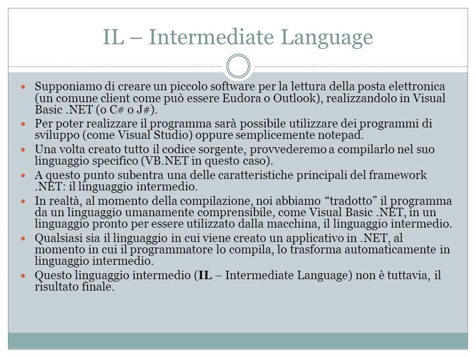 IL – Intermediate Language Supponiamo di creare un piccolo software per la lettura della posta elettronica (un comune client come può essere Eudora o