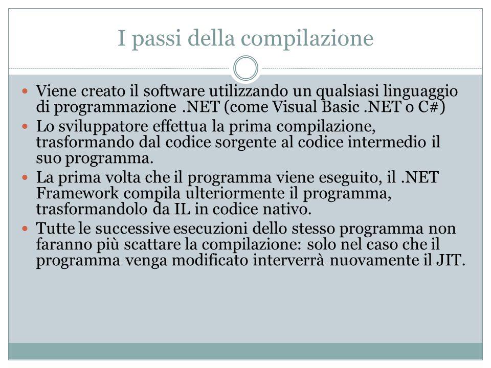 I passi della compilazione Viene creato il software utilizzando un qualsiasi linguaggio di programmazione.NET (come Visual Basic.NET o C#) Lo sviluppa