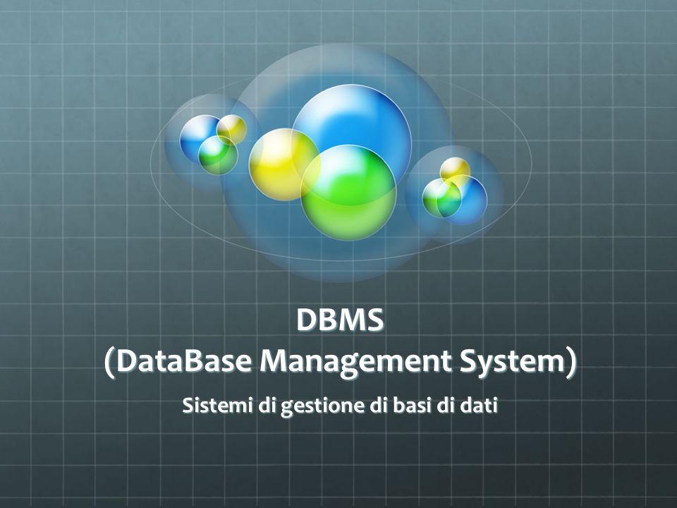 DBMS Un Database Management System è un sistema software progettato per consentire la creazione e manipolazione efficiente di database (collezioni di dati strutturati) solitamente da parte di più utenti.