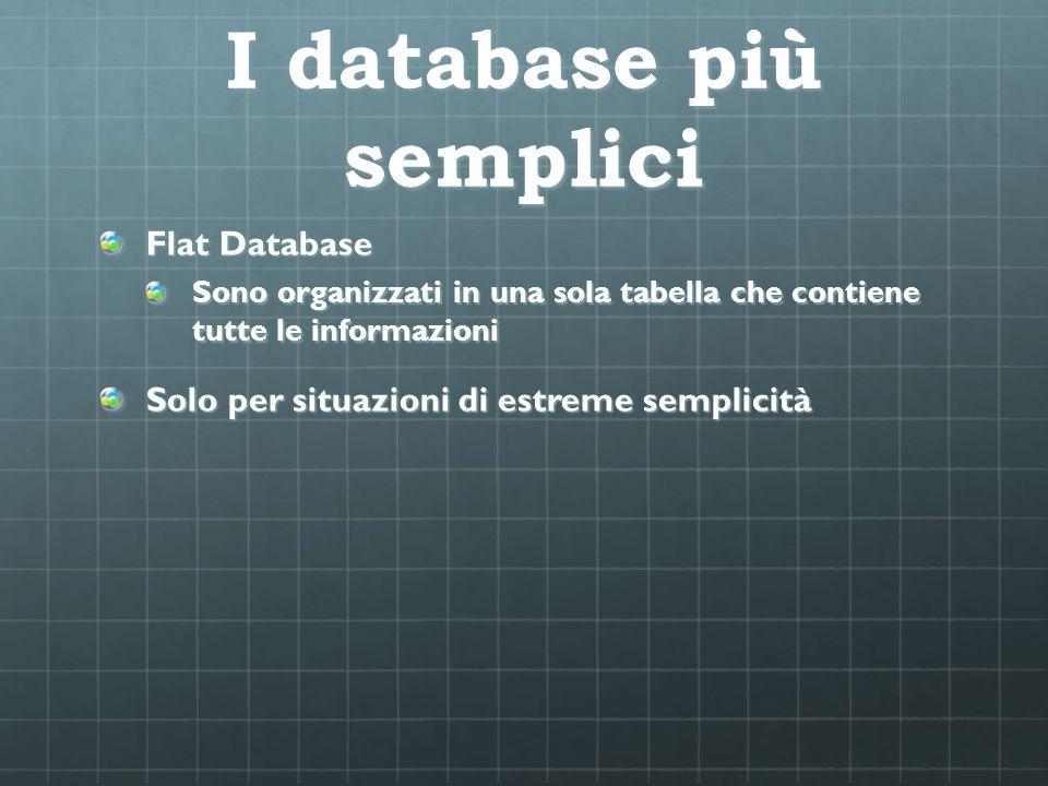 I database più semplici Flat Database Sono organizzati in una sola tabella che contiene tutte le informazioni Solo per situazioni di estreme semplicit