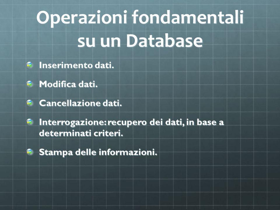 Operazioni fondamentali su un Database Inserimento dati. Modifica dati. Cancellazione dati. Interrogazione: recupero dei dati, in base a determinati c