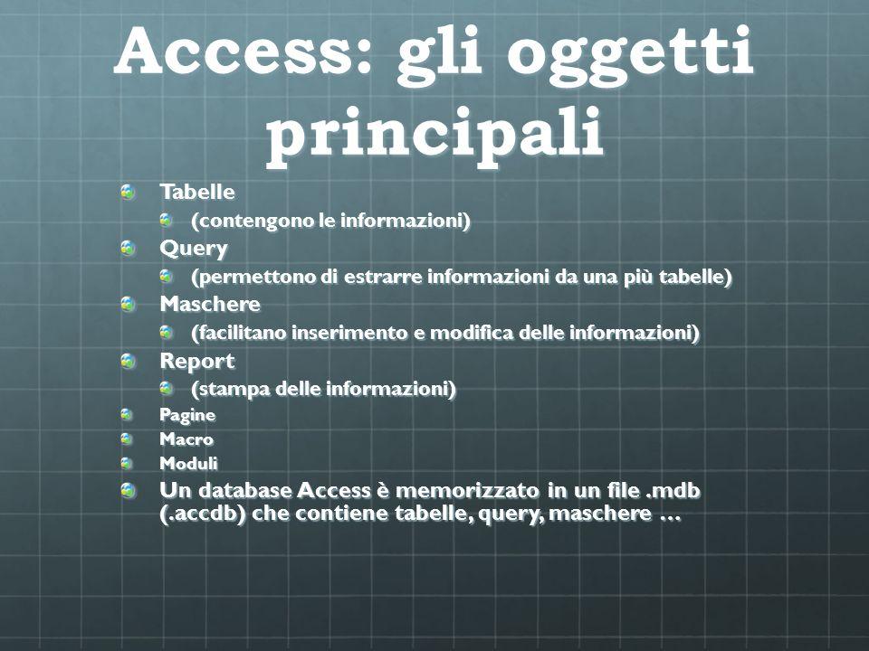 Access: gli oggetti principali Tabelle (contengono le informazioni) Query (permettono di estrarre informazioni da una più tabelle) Maschere (facilitan