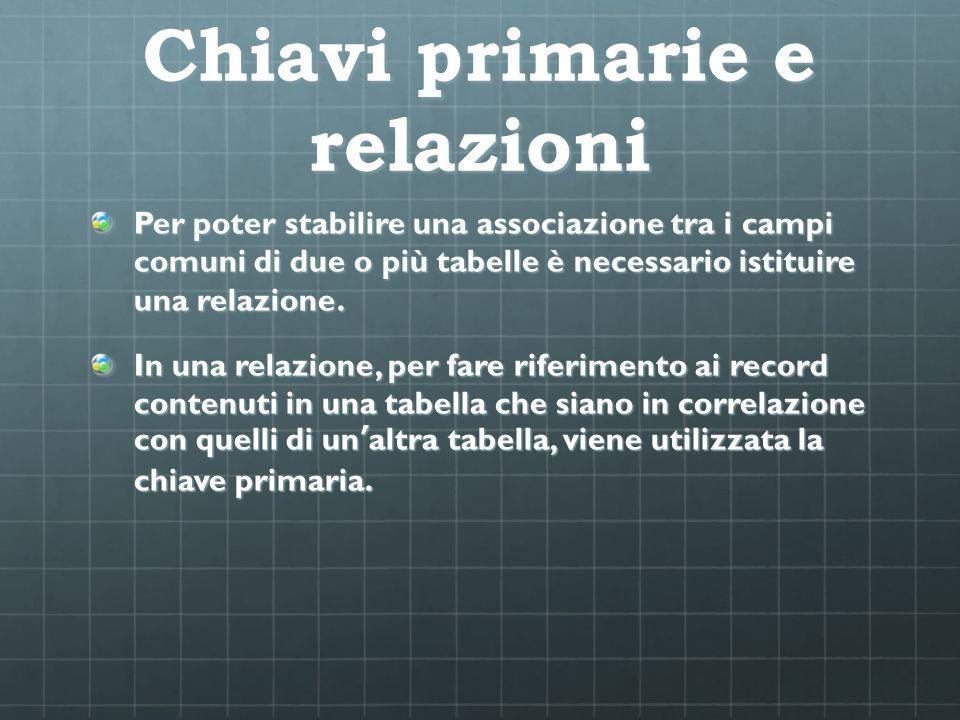 Chiavi primarie e relazioni Per poter stabilire una associazione tra i campi comuni di due o più tabelle è necessario istituire una relazione. In una