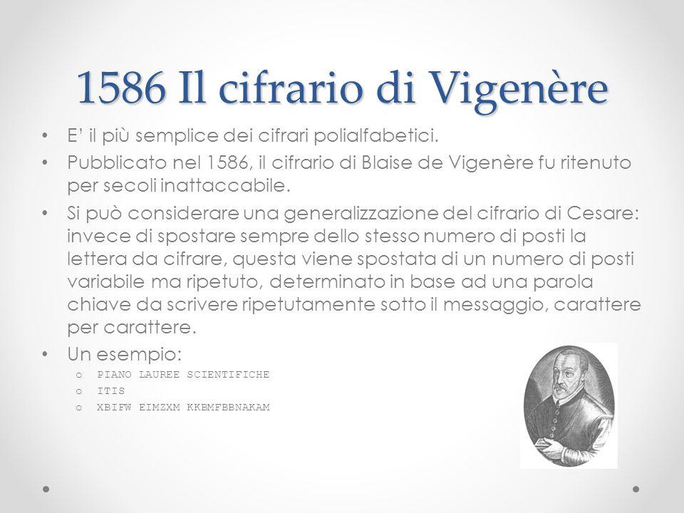 1586 Il cifrario di Vigenère E il più semplice dei cifrari polialfabetici. Pubblicato nel 1586, il cifrario di Blaise de Vigenère fu ritenuto per seco