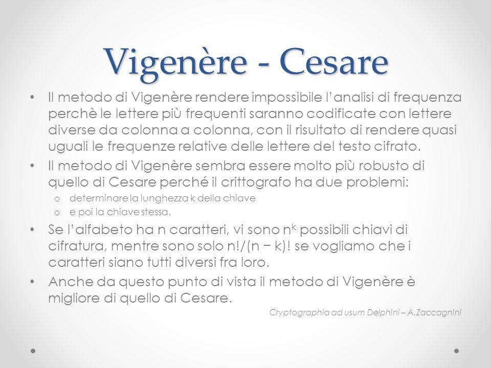 Vigenère - Cesare Il metodo di Vigenère rendere impossibile lanalisi di frequenza perchè le lettere più frequenti saranno codificate con lettere diver