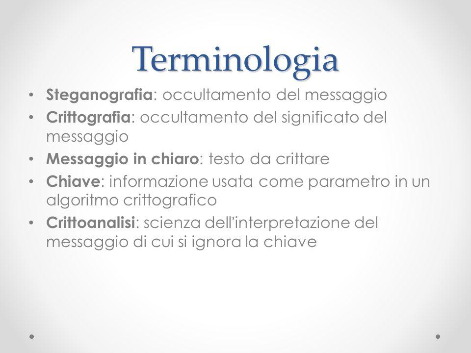 Terminologia Steganografia : occultamento del messaggio Crittografia : occultamento del significato del messaggio Messaggio in chiaro : testo da critt