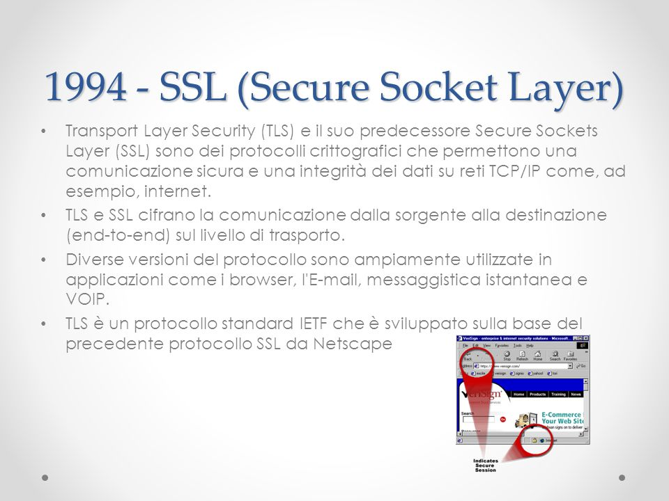 1994 - SSL (Secure Socket Layer) Transport Layer Security (TLS) e il suo predecessore Secure Sockets Layer (SSL) sono dei protocolli crittografici che