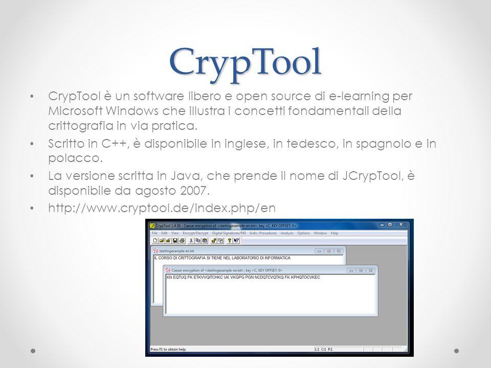 CrypTool CrypTool è un software libero e open source di e-learning per Microsoft Windows che illustra i concetti fondamentali della crittografia in vi