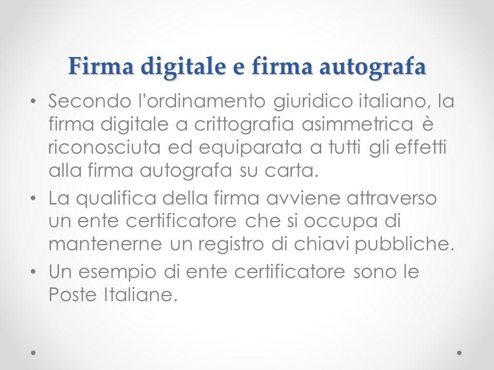Firma digitale e firma autografa Secondo lordinamento giuridico italiano, la firma digitale a crittografia asimmetrica è riconosciuta ed equiparata a