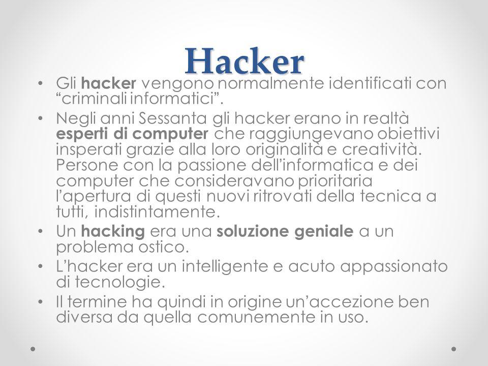 Hacker Gli hacker vengono normalmente identificati concriminali informatici. Negli anni Sessanta gli hacker erano in realtà esperti di computer che ra