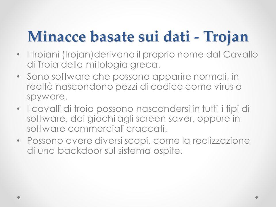 Minacce basate sui dati - Trojan I troiani (trojan)derivano il proprio nome dal Cavallo di Troia della mitologia greca. Sono software che possono appa