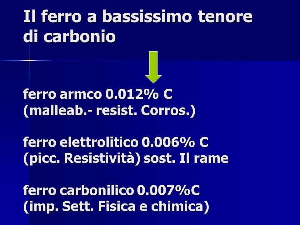Il ferro a bassissimo tenore di carbonio ferro armco 0.012% C (malleab.- resist. Corros.) ferro elettrolitico 0.006% C (picc. Resistività) sost. Il ra