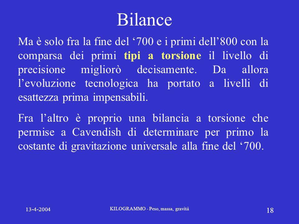 13-4-2004 KILOGRAMMO - Peso, massa, gravità 18 Bilance Ma è solo fra la fine del 700 e i primi dell800 con la comparsa dei primi tipi a torsione il li
