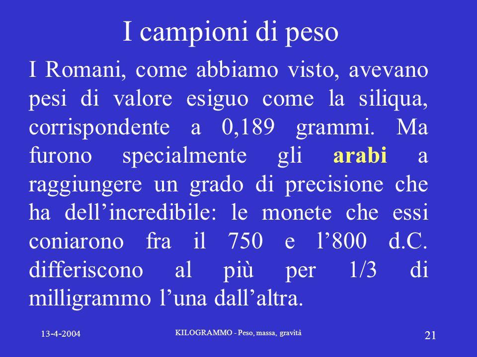 13-4-2004 KILOGRAMMO - Peso, massa, gravità 21 I campioni di peso I Romani, come abbiamo visto, avevano pesi di valore esiguo come la siliqua, corrisp