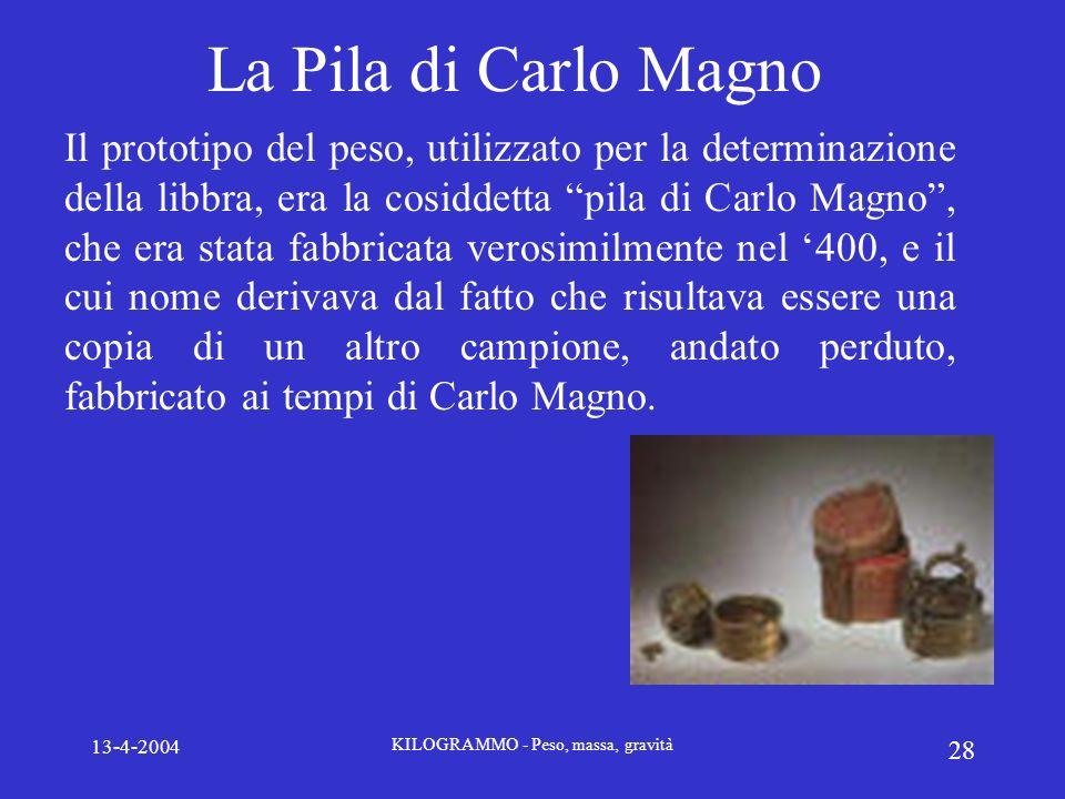 13-4-2004 KILOGRAMMO - Peso, massa, gravità 28 La Pila di Carlo Magno Il prototipo del peso, utilizzato per la determinazione della libbra, era la cos