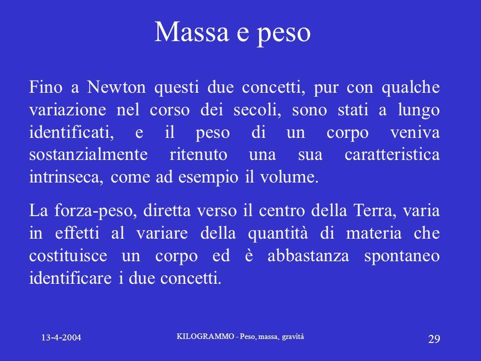 13-4-2004 KILOGRAMMO - Peso, massa, gravità 29 Massa e peso Fino a Newton questi due concetti, pur con qualche variazione nel corso dei secoli, sono s