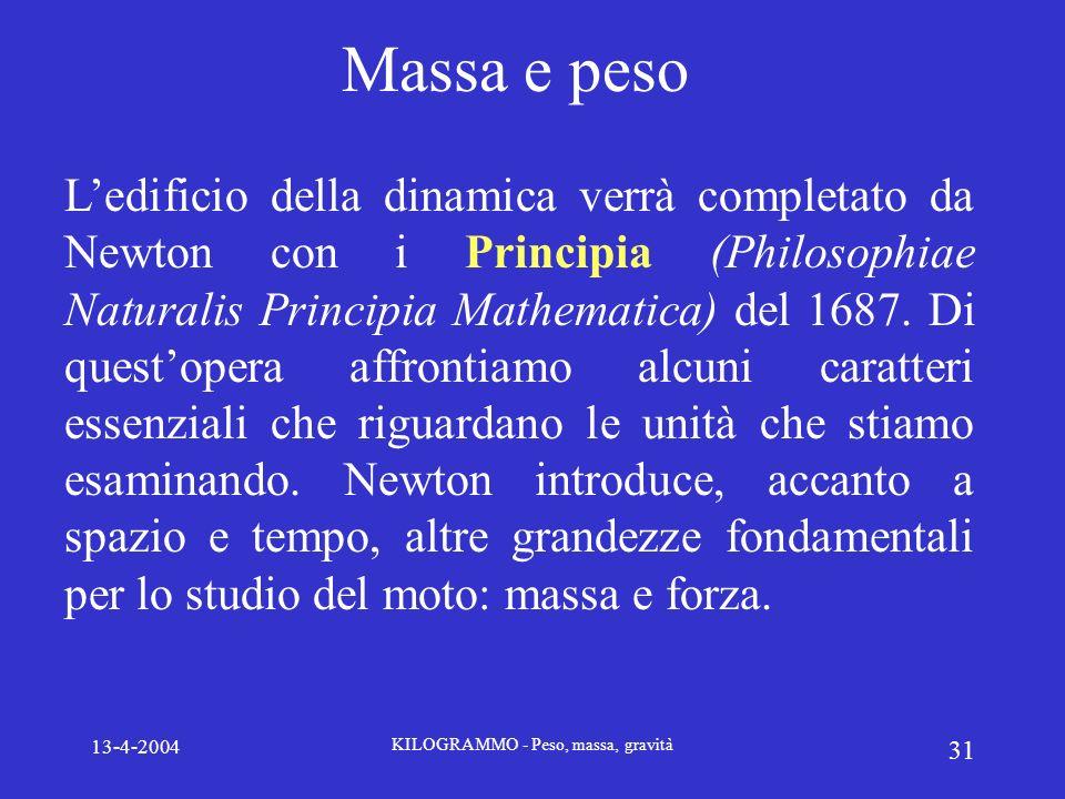 13-4-2004 KILOGRAMMO - Peso, massa, gravità 31 Massa e peso Ledificio della dinamica verrà completato da Newton con i Principia (Philosophiae Naturali