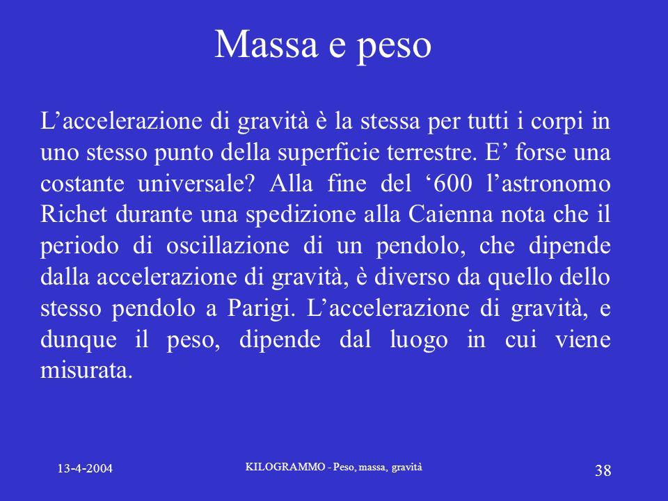13-4-2004 KILOGRAMMO - Peso, massa, gravità 38 Massa e peso Laccelerazione di gravità è la stessa per tutti i corpi in uno stesso punto della superfic