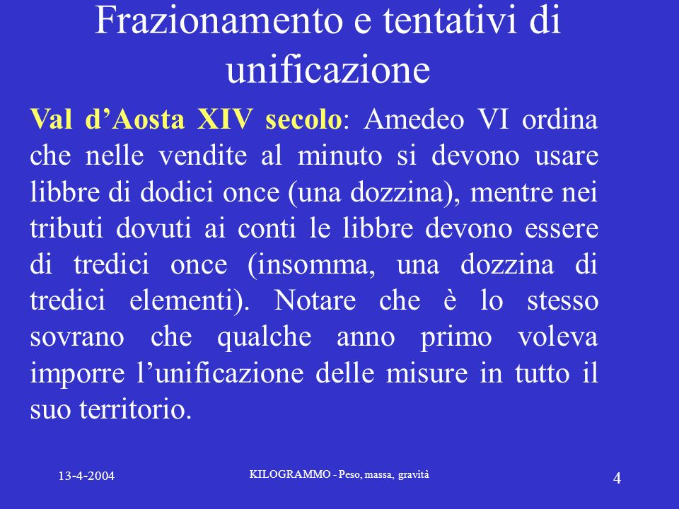 13-4-2004 KILOGRAMMO - Peso, massa, gravità 4 Frazionamento e tentativi di unificazione Val dAosta XIV secolo: Amedeo VI ordina che nelle vendite al m
