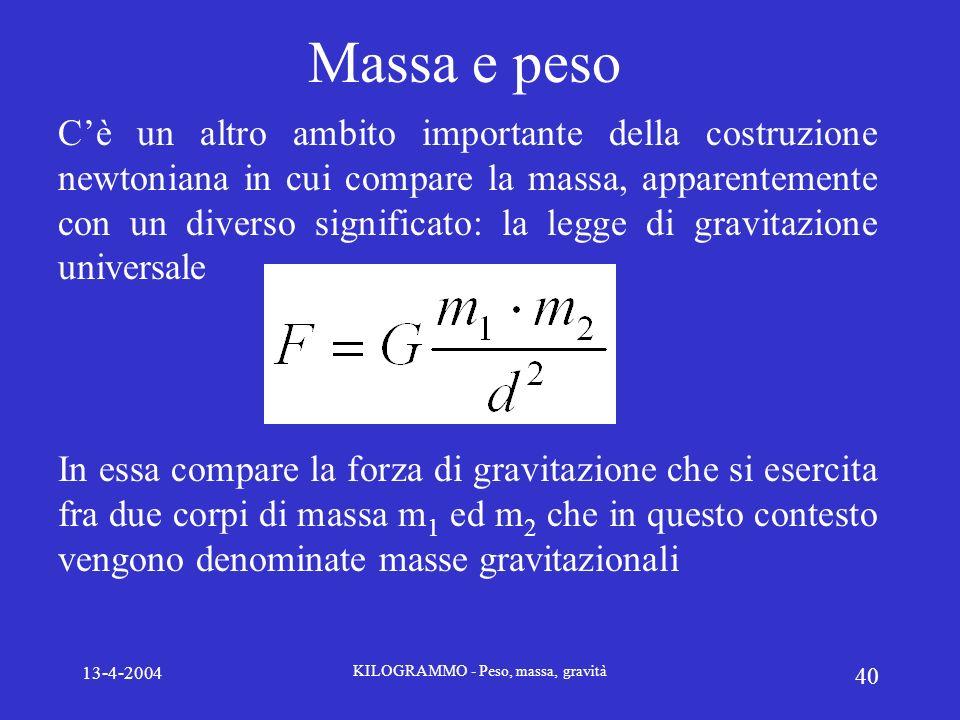 13-4-2004 KILOGRAMMO - Peso, massa, gravità 40 Massa e peso Cè un altro ambito importante della costruzione newtoniana in cui compare la massa, appare