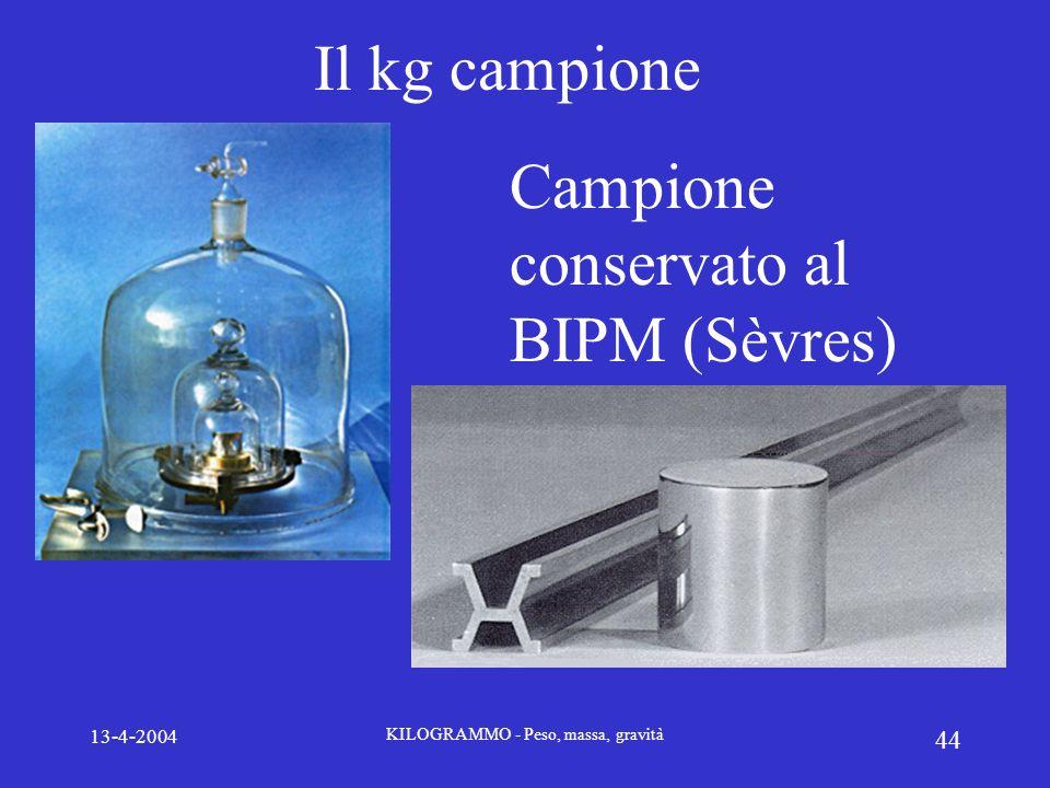 13-4-2004 KILOGRAMMO - Peso, massa, gravità 44 Il kg campione Campione conservato al BIPM (Sèvres)