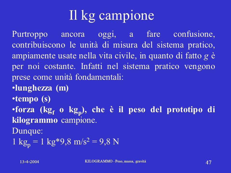 13-4-2004 KILOGRAMMO - Peso, massa, gravità 47 Il kg campione Purtroppo ancora oggi, a fare confusione, contribuiscono le unità di misura del sistema