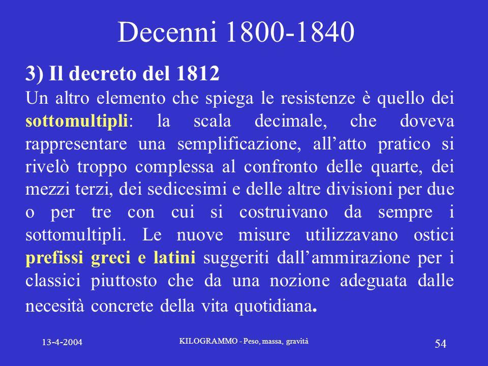 13-4-2004 KILOGRAMMO - Peso, massa, gravità 54 Decenni 1800-1840 3) Il decreto del 1812 Un altro elemento che spiega le resistenze è quello dei sottom