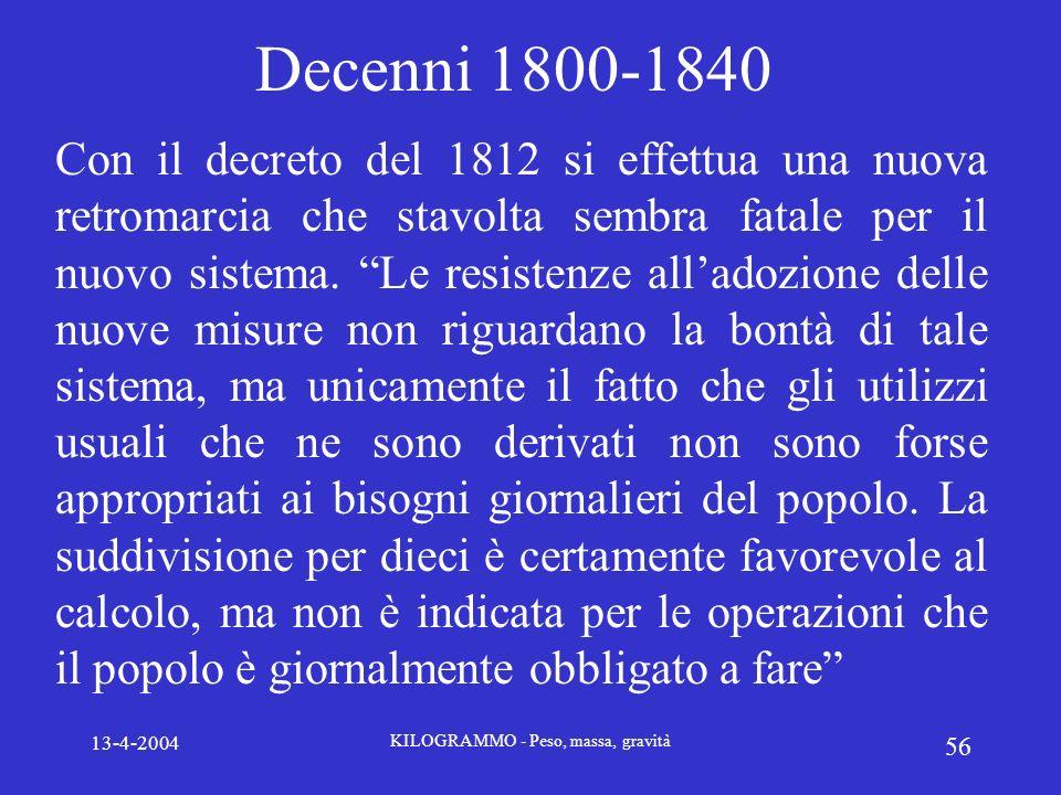 13-4-2004 KILOGRAMMO - Peso, massa, gravità 56 Decenni 1800-1840 Con il decreto del 1812 si effettua una nuova retromarcia che stavolta sembra fatale