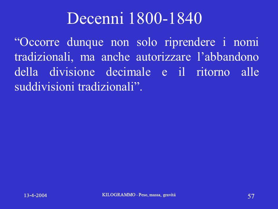 13-4-2004 KILOGRAMMO - Peso, massa, gravità 57 Decenni 1800-1840 Occorre dunque non solo riprendere i nomi tradizionali, ma anche autorizzare labbando